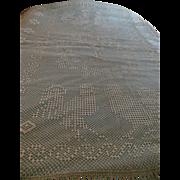 19C Crochet Bedspread Coverlet Folk Art Dated 1919 Initials & Chickens Quilt