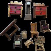 Vintage Dollhouse Miniature Wood Furniture Spinning Wheel Grandfather Clock Trestle Table Red Paint Bureau Pair Stool 10 Pc Lot