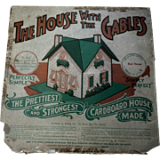 Antique Dollhouse Doll House with Gables Lithographed Cardboard n Orig Package 1914