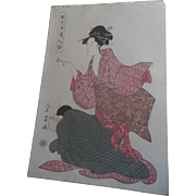 Antique 1820s Eisho Japanese Beauty Woodblock Print