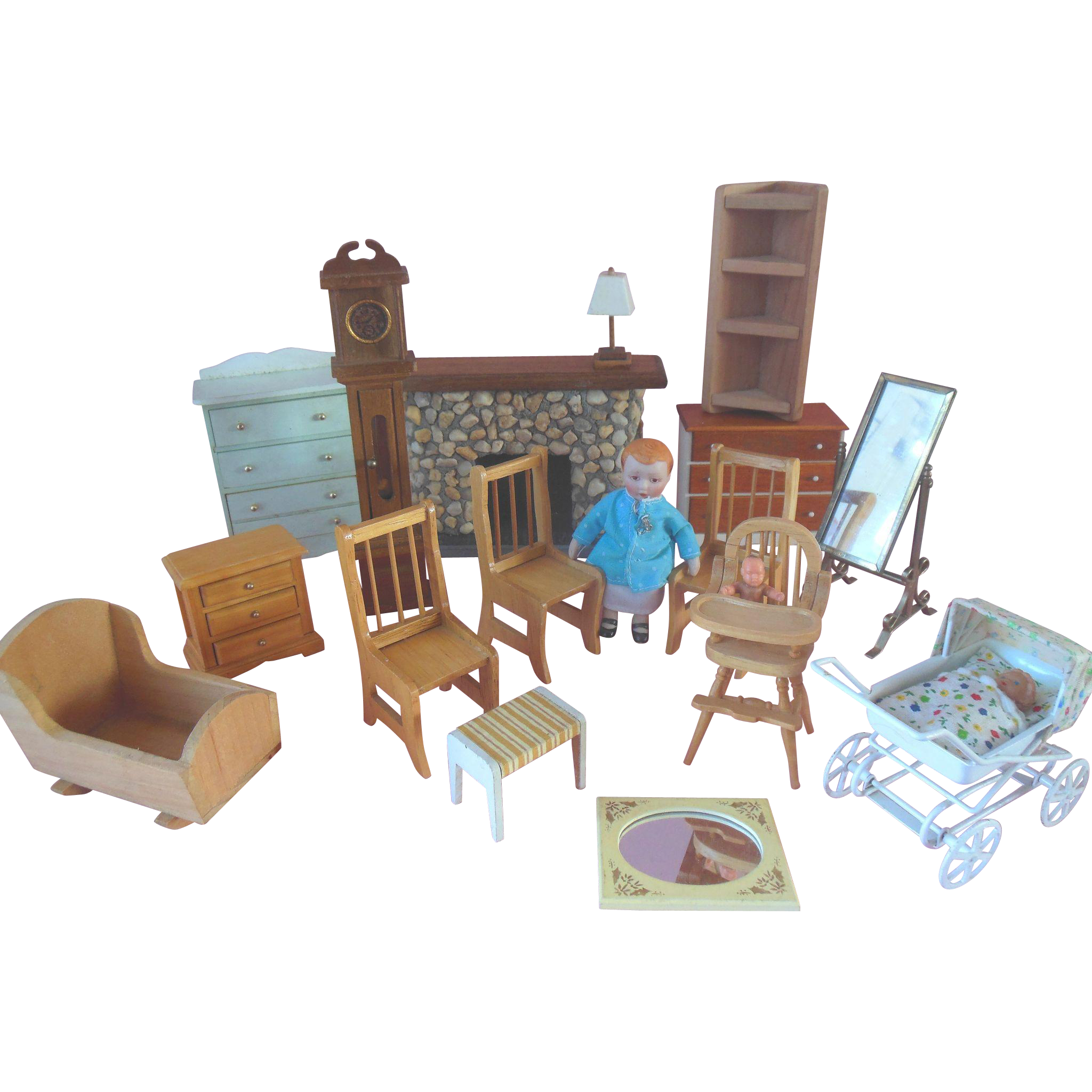 Vintage Dollhouse Furniture Stone Fireplace Doll Carriage Clock Mirror  Highchair Cradle 18Pc Lot