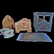 DORA KUHN Dollhouse Miniature Hand Painted Hearts & Flowers German Cottage Furniture Set
