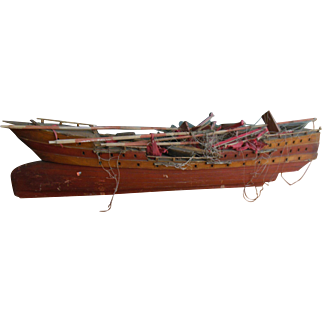 "Antique 48"" Wooden Model Ship with Linen Sales for restoration"