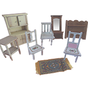 Dollhouse Cupboard Painted Wood Chairs Mirror Hall Tree Pantry Shelf Miniature Furniture Vintage Lot