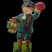 Vintage Crossing Guard Policeman Mechanical Valentine Card