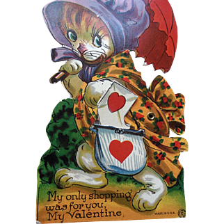 Vintage Cat Mechanical Valentine Card in Original Envelope unused condition
