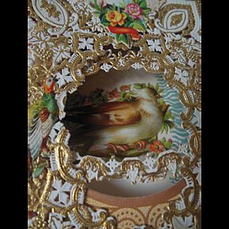 "Antique Lacy Bird Valentine 9"" Card A+ Condition Victorian"