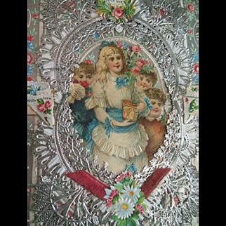 Antique Lace Valentine Victorian Card A+ Condition