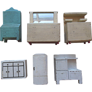 Vintage Kage Schoenhut Type Wood Dollhouse Furniture 6Pc Lot