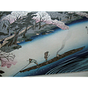 Antique 19C Hiroshige Japanese Cherry Blossom Boat Landscape Woodblock Print