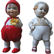 Old German Bisque Nodder Miniature Doll Pair