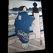 Antique 19C 1830s Japanese Beauty Woodblock Print Edo Period