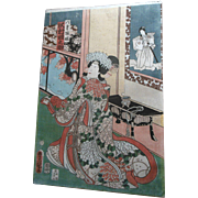 Antique 1st Ed 1840s Toyokuni 3rd Japanese Beauty Interior View Woodblock Print