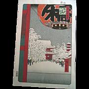 Antique 19C Hiroshige Kinryuzan Temple Snow Scene Japanese Woodblock Print