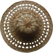 Vintage Intricate Large Straw Doll Hat