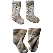 Antique French BEBE Jumeau Doll Socks