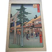 Antique 19C Hiroshige Japanese Street Scene at Gate Woodblock Print