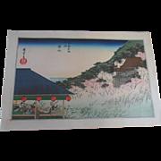 Antique 19C Hiroshige Cherry Blossom Kiyomizu-dera Japanese Woodblock Print