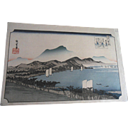 Antique 19C Hiroshige Weather Clearing at Awazu Japanese Woodblock Print