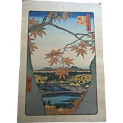 Antique Hiroshige Maple Trees at Mama Tekona Shrine Japanese Woodblock Print