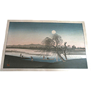 1890s Hiroshige Woodblock Print Full Moon Evening Landscape
