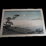 Antique Hiroshige Japanese Woodblock Evening Lake Landscape