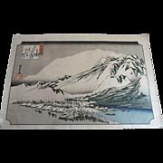 Antique Hiroshige Evening Snow at Mt. Hira Japanese Woodblock Print