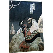 Lovely Antique Kunichika Japanese Beauty Woodblock Print
