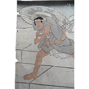 Old Kunisada Japanese Woodblock Parasol Print