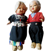Vintage Composition Holland Dutch Doll Pair excellent condition