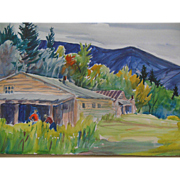 Impressionistic Jefferson Highlands New Hampshire Cabin Landscape Painting