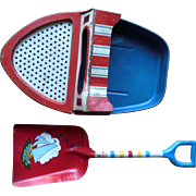 Vintage Ohio Art Sand Sifter Tin Boat & Shovel Beach Toy