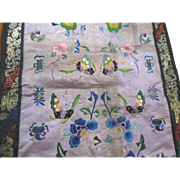 Vintage Chinese Silk Butterfly Flower Embroidered Textile