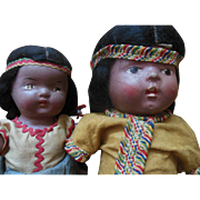 Reliable Hiawatha Composition Indian Doll Canada Doll Pair Vintage 1940s