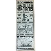 Old Circus Trapeze Sello Bros. Broadside Advertisement Poster