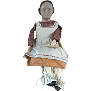 Vintage Papier Mache Wood appearance Ceramic Folk Art Doll in Calico Outfit