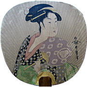 Antique Japanese possible Utamaro Woodblock Beauty Hand Fan