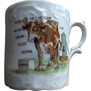Antique Child Doll ABC type Cat Cow Nursery Rhyme Cup German Mug