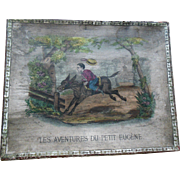 Antique 1820s French Doll Toy Box Trunk Hand Colored Child on Horse Landscape Scene with original paper label