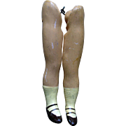 Vintage Composition Flapper Doll Legs with mary jane heeled shoes or parts or repair