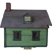 Antique Wood Dollhouse in Green Paint with Glass Windows Folk Art Doll House