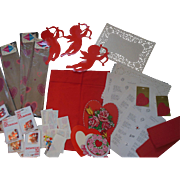 Vintage Dennison Valentine Heart Crepe Paper Party Decorations Valentines etc Box Lot