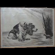 1930s Cocker Spaniel Signed Original Etching Diana Thorne