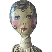 """Vintage 33"""" Oil Cloth Painted Doll Flapper Boudoir Bed Doll Clothes or Pajama Bag"""