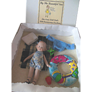 Vintage All Bisque Dollhouse Doll with Beach Accessories MIB Ida Lewis Doll Club 20th Anniversary Luncheon Sept 2000