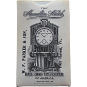 1900s Hamilton Railroad Pocket Watch Timekeeper Celluloid Vintage Advertising