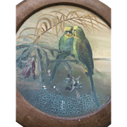 Antique Parakeet Parrot Folk Art Flu Cover Art Bird Painting Toleware