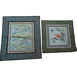 (2) Vintage Chinese Asian Silk Embroidery Landscape Textile with Import Labels