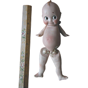 "Vintage German Bisque Kewpie Doll Jointed Leg Partial Rose O'Neill Sticker 6.5"" as found"