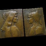 (2) Ernesta Robert Merignac French Bronze Medals Monnaie de Paris Olonnaise & Limousine Signed